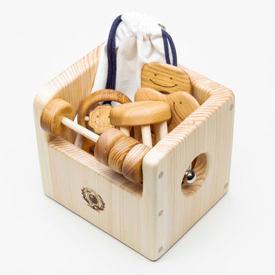 Wooden Baby Toy Box & Trinkets