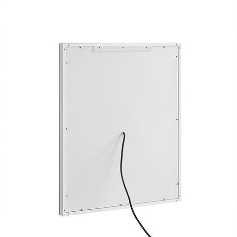 "Image of Daytona Wall Mounted LED Lighted Silver Mirror for Bathroom, 3D, Triple Color Temperature Lighting, Digital Clock, Automatic Defogger, Dimmer, Touch Screen Buttons 24"" x 30"" x 5"""
