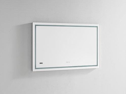 "Daytona Wall Mounted LED Lighted Silver Mirror for Bathroom, 3D, Triple Color Temperature Lighting, Digital Clock, Automatic Defogger, Dimmer, Touch Screen Buttonsn 48"" x 30' x 1.5"""