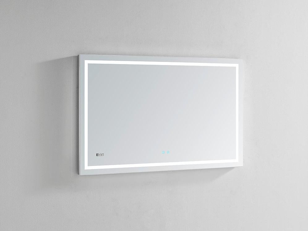"Daytona Wall Mounted LED Lighted Silver Mirror for Bathroom, 3D, Triple Color Temperature Lighting, Digital Clock, Automatic Defogger, Dimmer, Touch Screen Buttons 48"" x 36"" x 1.5"""