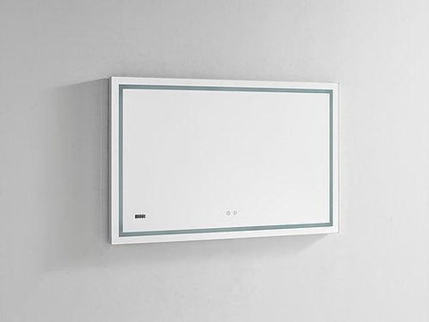"Image of Daytona Wall Mounted LED Lighted Silver Mirror for Bathroom, 3D, Triple Color Temperature Lighting, Digital Clock, Automatic Defogger, Dimmer, Touch Screen Buttons 48"" x 36"" x 1.5"""