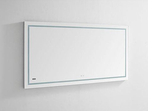 "Daytona Wall Mounted LED Lighted Silver Mirror for Bathroom, 3D, Triple Color Temperature Lighting, Digital Clock, Automatic Defogger, Dimmer, Touch Screen Buttons 60'"" x 30"" x 1.5"