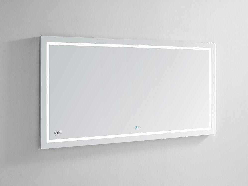 "Daytona Wall Mounted LED Lighted Silver Mirror for Bathroom, 3D, Triple Color Temperature Lighting, Digital Clock, Automatic Defogger, Dimmer, Touch Screen Buttons 60"" x 36"" x 1.5"""