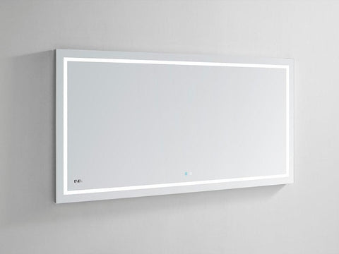 "Image of Daytona Wall Mounted LED Lighted Silver Mirror for Bathroom, 3D, Triple Color Temperature Lighting, Digital Clock, Automatic Defogger, Dimmer, Touch Screen Buttons 60"" x 36"" x 1.5"""