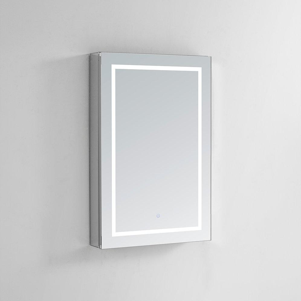 "Royale Plus LED Lighted Mirror Glass Medicine Cabinet for Bathroom, Automatic Defogger, Touch Screen Button, Dimmer, Electrical Outlet 24"" x 36"" x 5"""