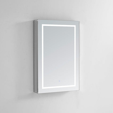 "Image of Royale Plus LED Lighted Mirror Glass Medicine Cabinet for Bathroom, Automatic Defogger, Touch Screen Button, Dimmer, Electrical Outlet 24"" x 36"" x 5"""