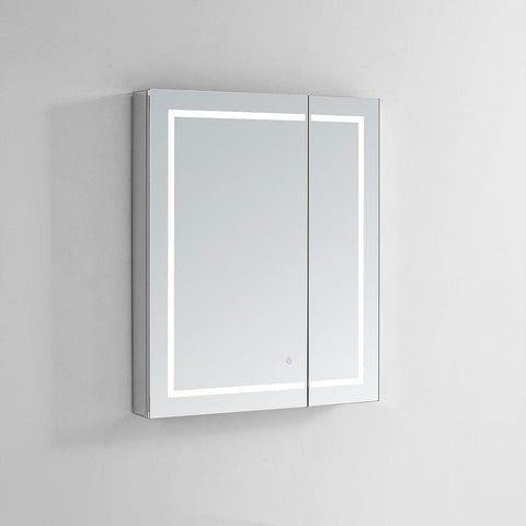 "Royale Plus LED Lighted Mirror Glass Medicine Cabinet for Bathroom, Automatic Defogger, Touch Screen Button, Dimmer, Electrical Outlet 36"" X 36"" X 5"""