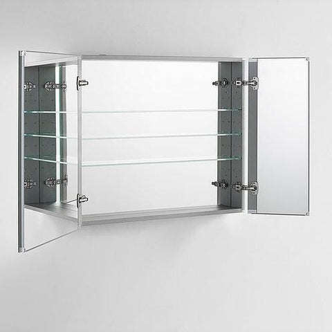 "Image of Royale Plus LED Lighted Mirror Glass Medicine Cabinet for Bathroom, Automatic Defogger, Touch Screen Button, Dimmer, Electrical Outlet 36"" X 36"" X 5"""