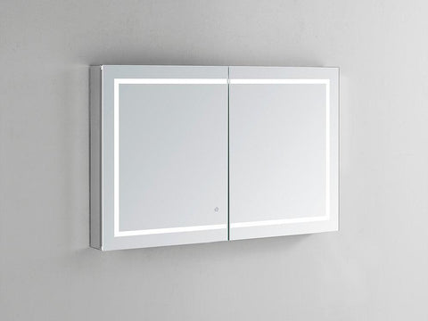 "Royale Plus LED Lighted Mirror Glass Medicine Cabinet for Bathroom, Automatic Defogger, Touch Screen Button, Dimmer, Electrical Outlet 48"" x 30"" x 5"""