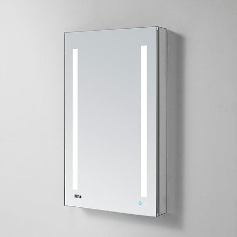 "Image of Signature Royale LED Lighted Mirror Glass Medicine Cabinet for Bathroom, 3D Triple Color Temperature Lighting, Clock, Defogger, Dimmer, Touch Screen Buttons, Outlet with USB  24"" x 30"" x 5"""