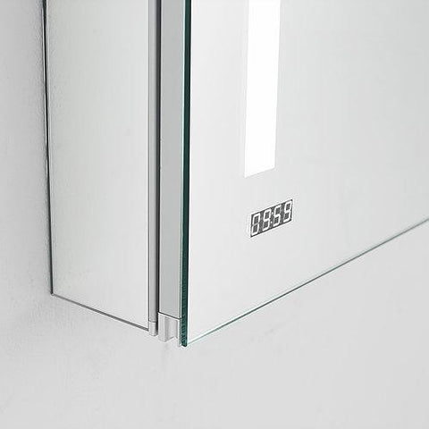 "Image of Signature Royale LED Lighted Mirror Glass Medicine Cabinet for Bathroom, 3D Triple Color Temperature Lighting, Clock, Defogger, Dimmer, Touch Screen Buttons, Outlet with USB 24"" x 40"" x 5"""