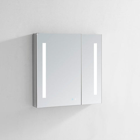 "Signature Royale LED Lighted Mirror Glass Medicine Cabinet for Bathroom, 3D Triple Color Temperature Lighting, Clock, Defogger, Dimmer, Touch Screen Buttons, Outlet with USB 30"" x 30"" x 5"""