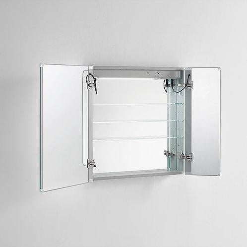 "Signature Royale LED Lighted Mirror Glass Medicine Cabinet for Bathroom, 3D Triple Color Temperature Lighting, Clock, Defogger, Dimmer, Touch Screen Buttons, Outlet with USB 36"" x 30"" x 5"""