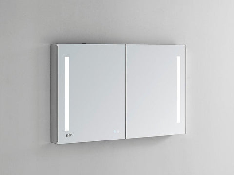 "Signature Royale LED Lighted Mirror Glass Medicine Cabinet for Bathroom, 3D Triple Color Temperature Lighting, Clock, Defogger, Dimmer, Touch Screen Buttons, Outlet with USB 48"" x 30"" x 5"""