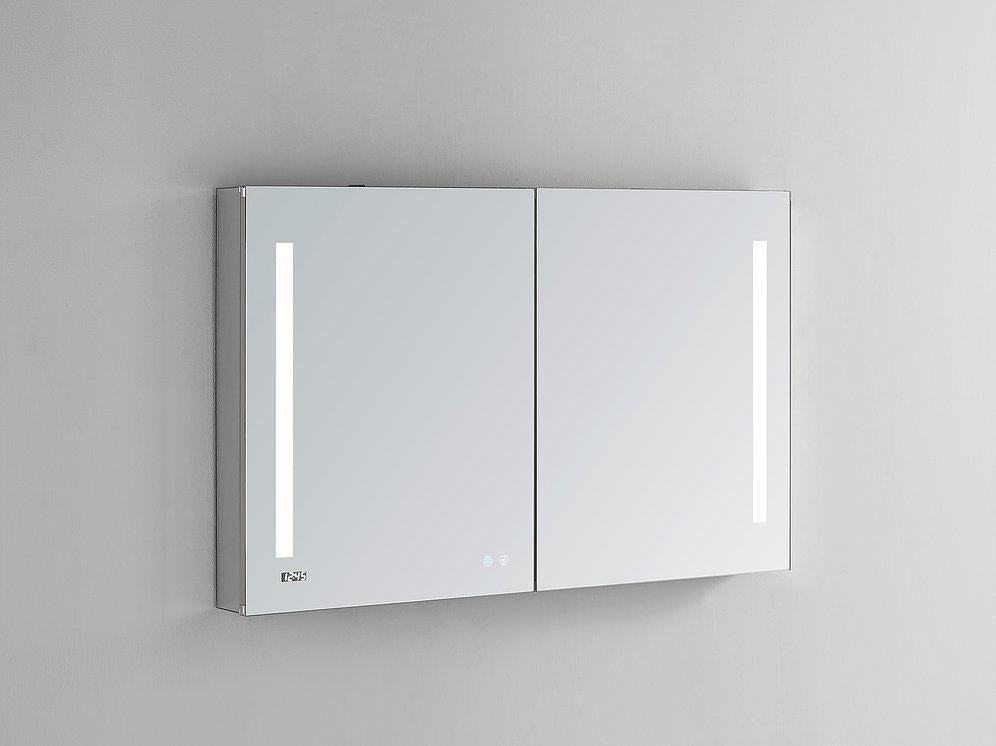 "Signature Royale LED Lighted Mirror Glass Medicine Cabinet for Bathroom, 3D Triple Color Temperature Lighting, Clock, Defogger, Dimmer, Touch Screen Buttons, Outlet with USB 48"" x 40"" x 5"""