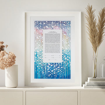 Beaded Ketubah, Bright Rain, framed