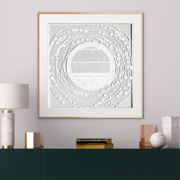 BEADED ROUND, Antique Gray, Matte Paper, framed