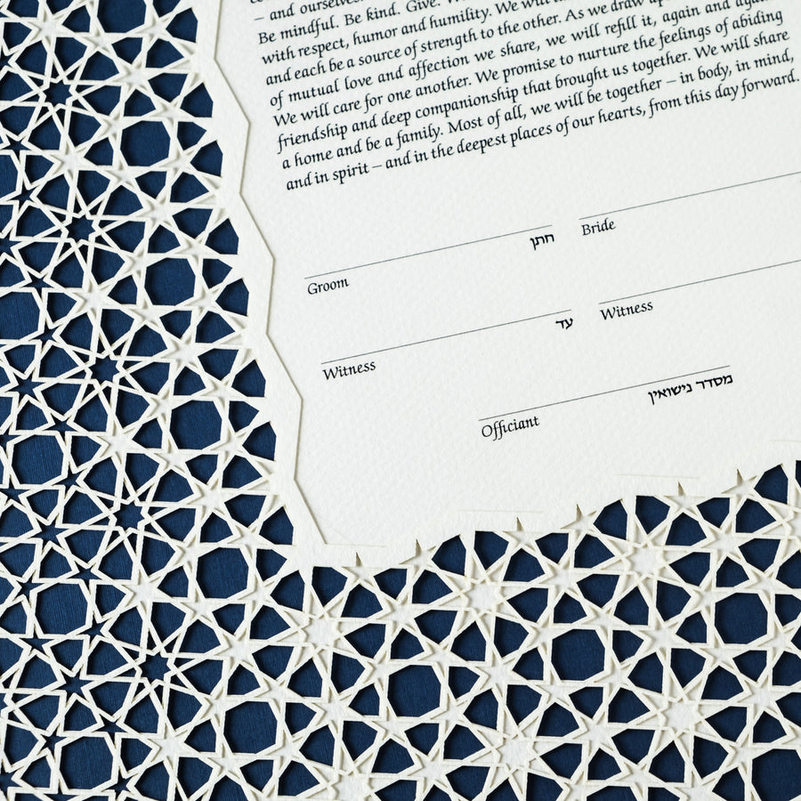 Cairo Double-Layer ketubah, dark blue, closeup
