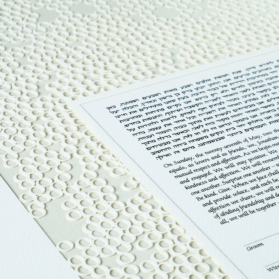 Circles ketubah, crystal, closeup