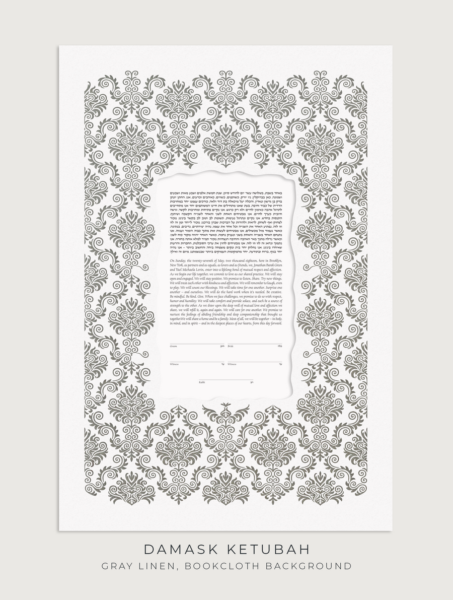 DAMASK, Gray Linen, Bookcloth