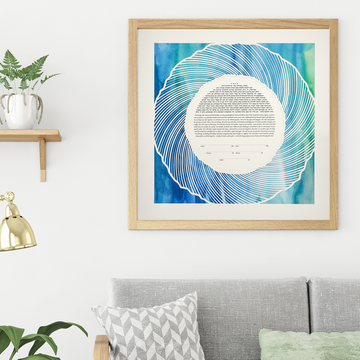 FLOW, Blue Watercolor, Fine Art Print, framed
