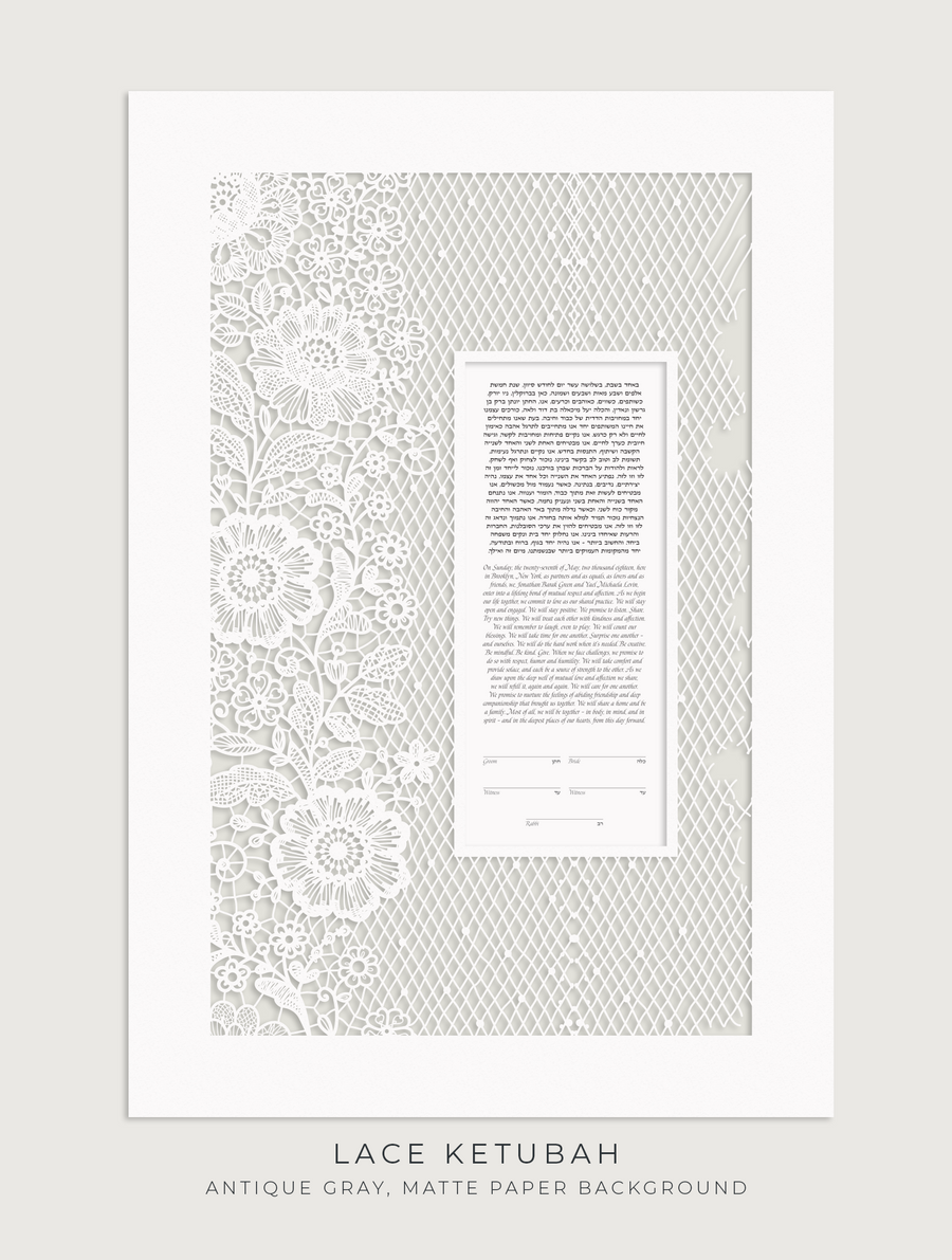 LACE, Antique Gray, Matte Paper