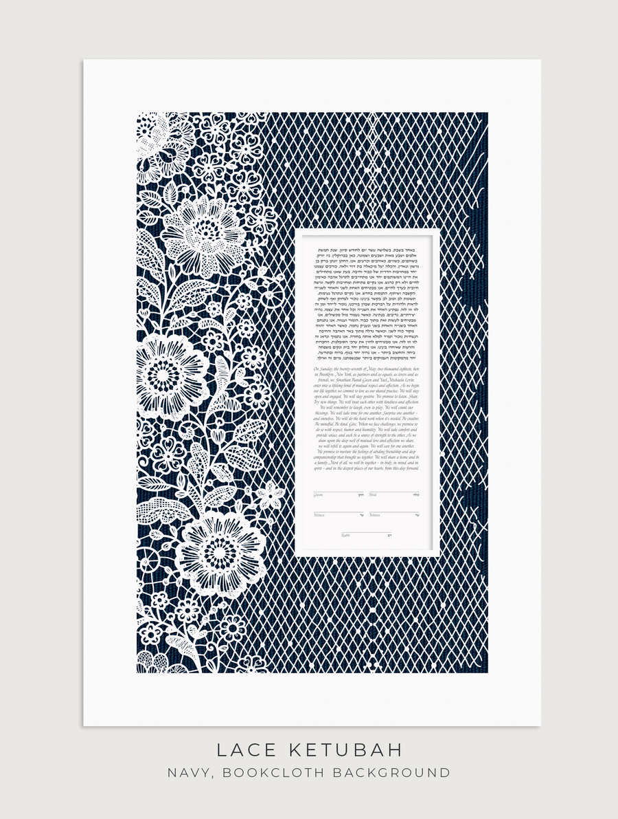 LACE, Navy, Bookcloth