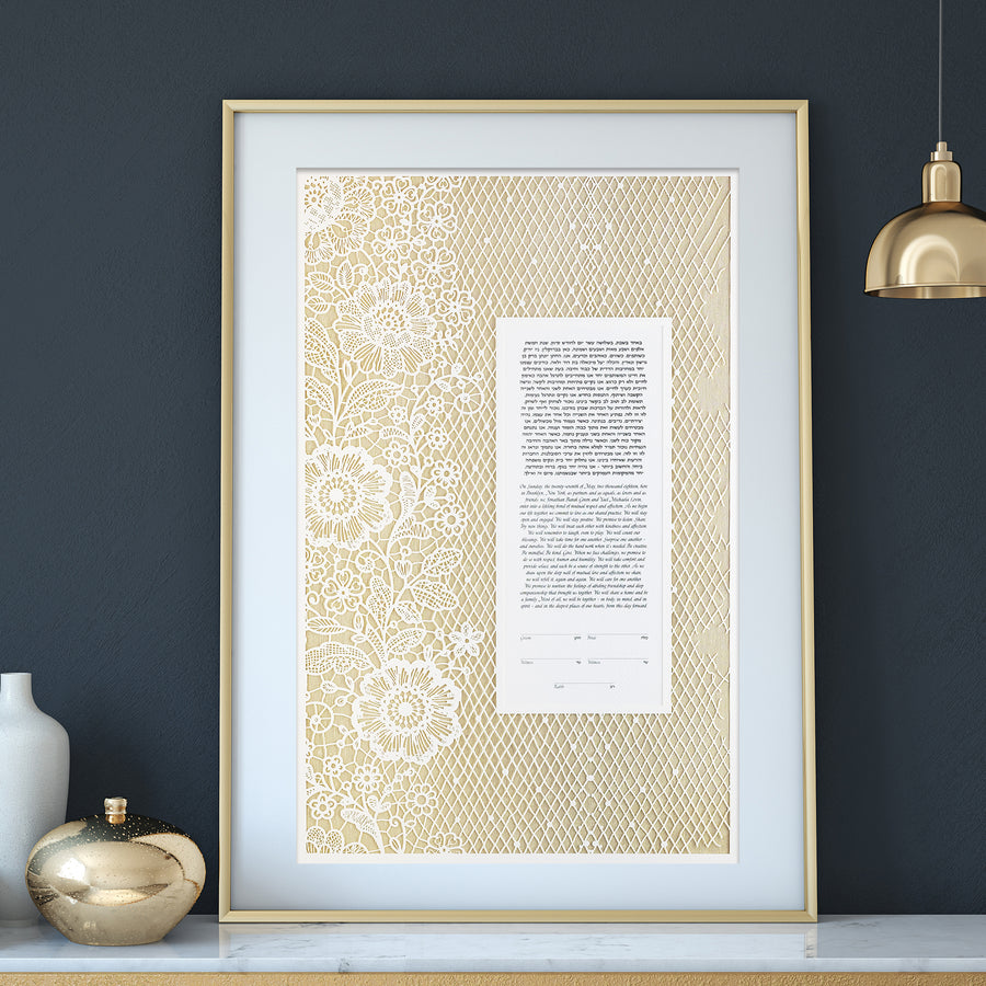 LACE, Mother of Pearl, Pearlized Paper, framed