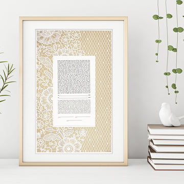 LACE PETITE, Platinum, Bookcloth, framed