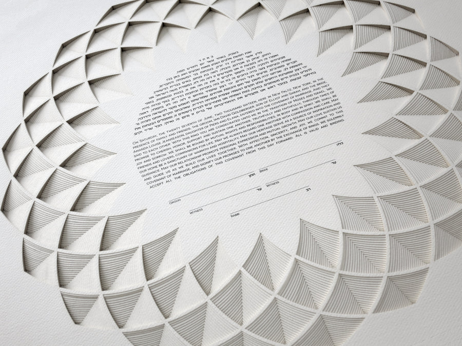 Lotus 18 Layer Ketubah, detail shot