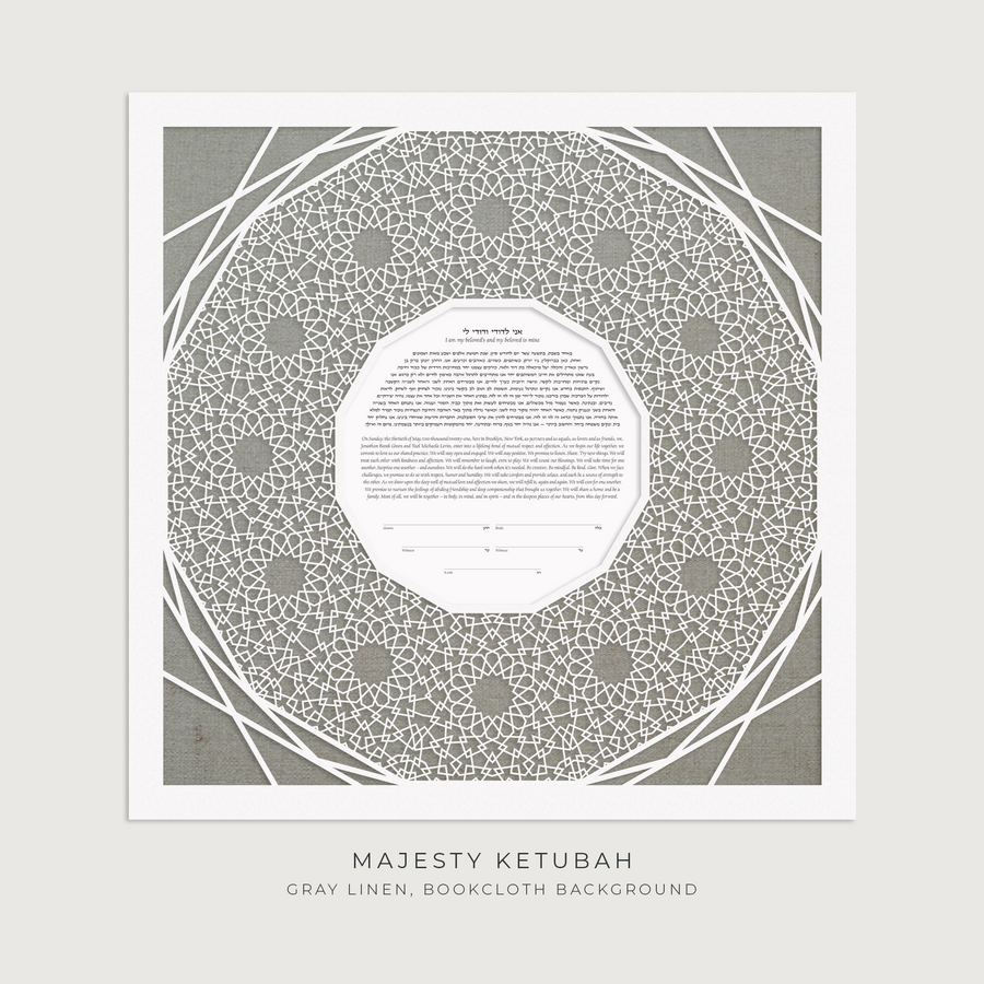MAJESTY, Gray Linen, Bookcloth