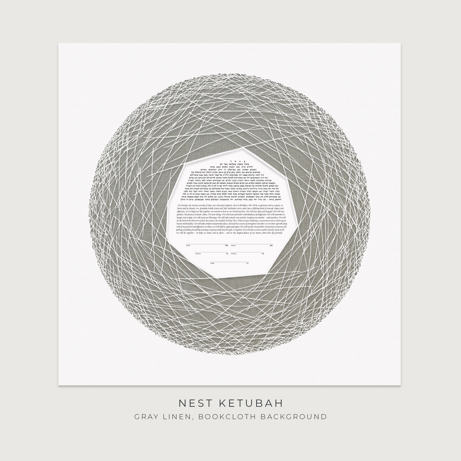 NEST, Gray Linen, Bookcloth