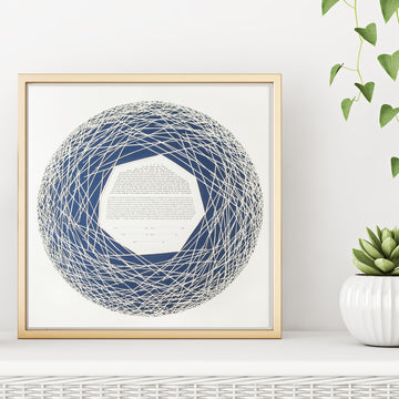 NEST, Dark Blue, Matte Paper, framed