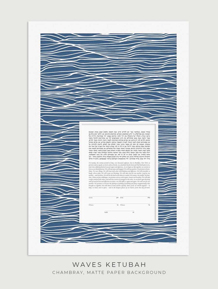 WAVES, Chambray, Matte Paper