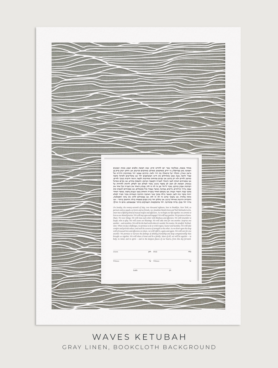 WAVES, Gray Linen, Bookcloth