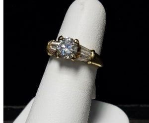 Round Brilliant Diamond Ring with Baguettes 1.75ct tw