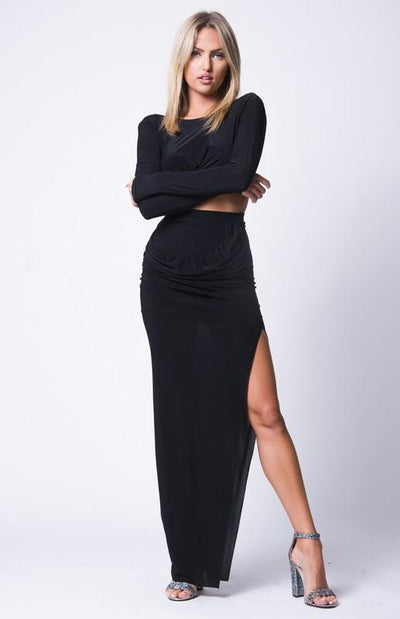 Side Slit Maxi Skirt Set - BLACK / S - BLACK / M - BLACK / L