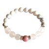 Help to Release Anger ~ Genuine Rose Quartz, White Howlite & Rhodonite Sterling Silver Bracelet