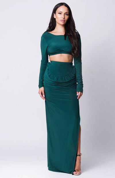 Side Slit Maxi Skirt Set - HUNTER GREEN / S - HUNTER GREEN / M - HUNTER GREEN / L