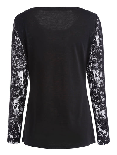 Christmas Lace Sleeve Top