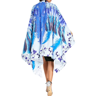 Asymmetrical Feather Floral Print Cape - BLUE / ONE SIZE
