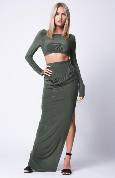Side Slit Maxi Skirt Set - OLIVE / S - OLIVE / M - OLIVE / L