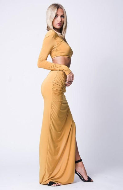 Side Slit Maxi Skirt Set