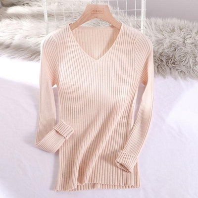 v-neck solid autumn winter Sweater - Beige / One Size