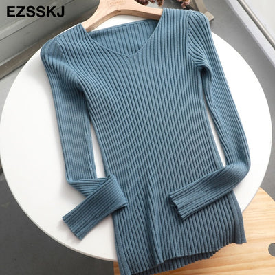 v-neck solid autumn winter Sweater - gray blue / One Size