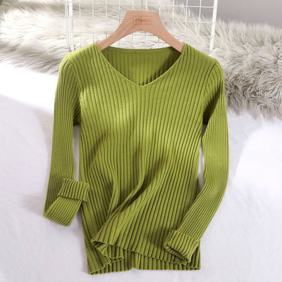 v-neck solid autumn winter Sweater - Army Green / One Size