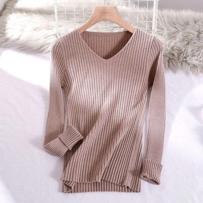v-neck solid autumn winter Sweater - Khaki / One Size