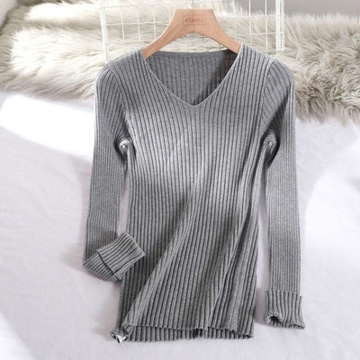 v-neck solid autumn winter Sweater - Gray / One Size