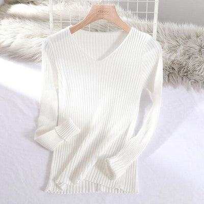 v-neck solid autumn winter Sweater - White / One Size