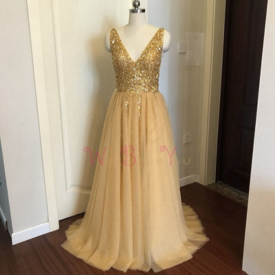 High Split Tulle Sweep Gown